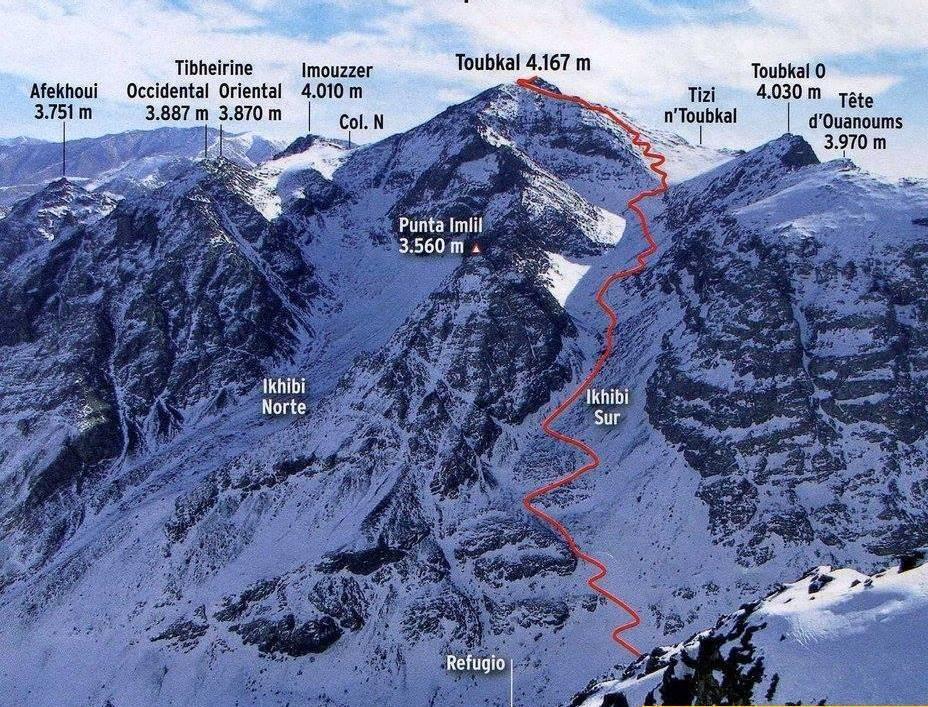Harta munților Atlas, vârful Toubkal