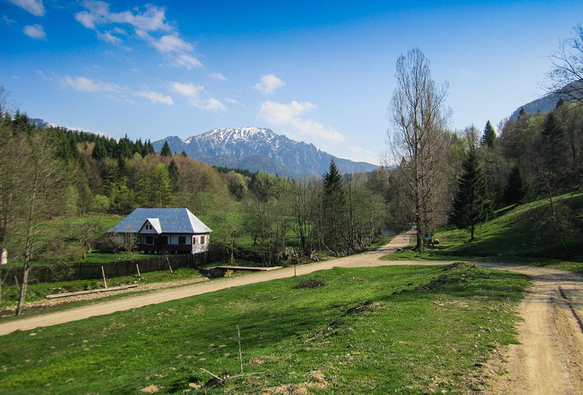 Peisaj din Dălghiu cu masivul Ciucaș în spate