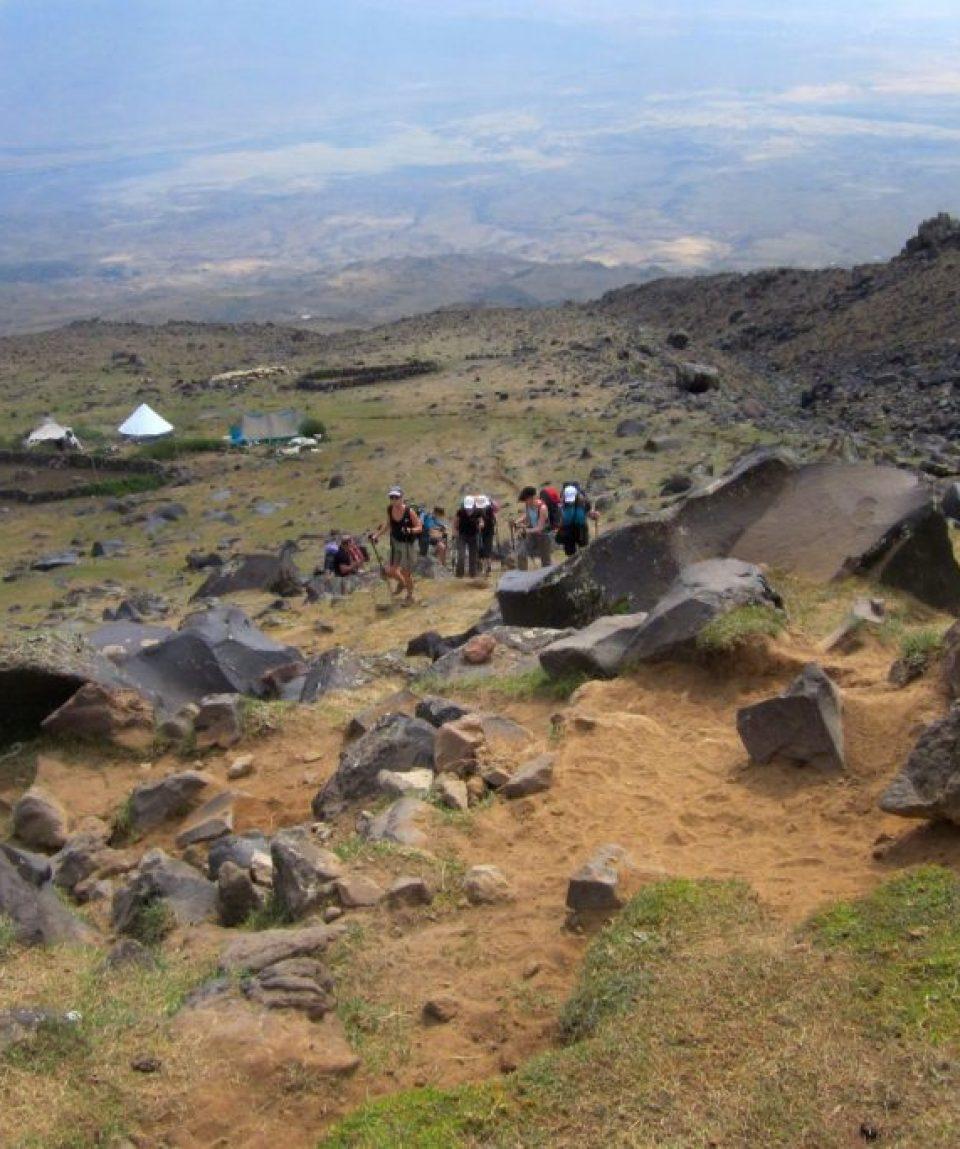 Traseu către prima tabără de pe Ararat
